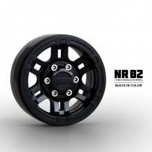 "Gmade NR02 1.9"" Beadlock Wheels, Black"
