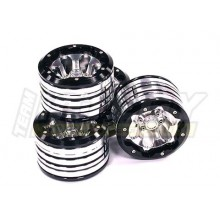 Integy V2 Alloy Type 7 2.2 Beadlock Wheels, Weighted, 4pcs, Black/Silver