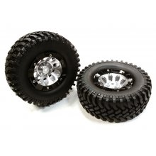 Integy Composite Type 10H 1.9 Wheel W/Beadlock Ring & Tire, 1pr.