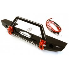 Integy Alloy Machined Scale Front Bumper w/LED Lights for Axial 1/10 SCX10 II- Black