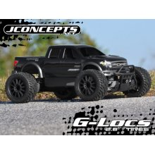 Jconcepts 2.8 G-Locs Tires, Yellow Compound, Pre-Mounted on Black Wheels for E-Stampede/E-Rustler 2WD Rear