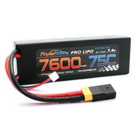 7600mAh 7.4V 2S 75C LiPo Battery with Hardwired XT60 Connector w/HC Adapter