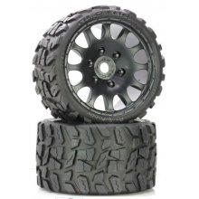 Raptor Belted Monster Truck Wheels/Tires (pr.), Pre-mounted, Sport Medium Compound 17mm Hex