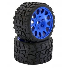 Raptor Belted Monster Truck Wheels(Blue)/Tires (pr.), Pre-mounted, Sport Medium Compound 17mm Hex