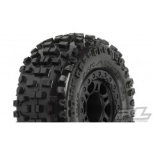 Badlands SC  M2 Tires Mounted on Split Six Black Front Wheels 2WD Slash
