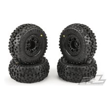 Badlands SC 2.2 / 3.0 M2 (Medium) Tires Mounted on Split Six Black Wheels (4pcs) for Slash 2wd