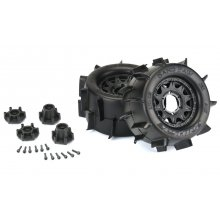 "Sand Paw 2.8"" Sand Tires Mounted Raid Black 6x30 Removable Hex Wheels (2) for Stampede 2wd"