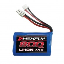 Hexfly 800mAH 7.4V Li-ion Battery, w/ Mini Tamiya Connector