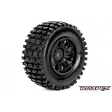 Tracker 1/10 Short Course Tires, Mounted on Black Wheels, 12mm Hex (1 pair)