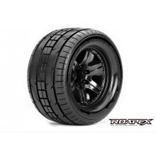 Trigger 1/10 Monster Truck Tires, Mounted on Black Wheels, 0 Offset, 12mm Hex (1 pair)