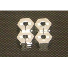 14mm Clamp Hexes, Silver, Stampede/Rustler/Bandit