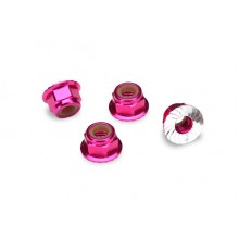 4mm Aluminum Flanged Serrated Wheel Nylock Nuts, Pink 4pcs