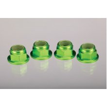 4mm Aluminum Flanged Serrated Wheel Nylock Nuts, Green 4pcs