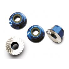 4mm Aluminum Flanged Serrated Wheel Nylock Nuts, Blue 4pcs