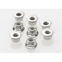 4mm Flanged Serrated Wheel Nylock Nuts