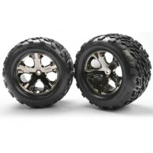 "Talon 2.8"" Tires Pre-Mounted All-Star Wheels,Blk Chrome Rr Stampede 1 pr."