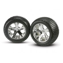 "Tires And Wheels, 2.8"", Mounted, Traxxas Rustler, Chrome All Star 1pr."