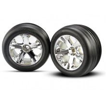 """Tires And Wheels, 2.8"""", Mounted, Traxxas Rustler, Chrome All Star 1pr. Ribbed"""