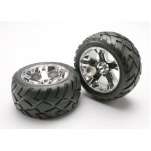 Traxxas All Star Wheels/ Tires, 2.8  Chrome Nitro Front
