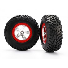 Tire & Wheel assembly, Mounted, Red Beadlock, Slash 2(ft)/4x4(Ft/Rr)