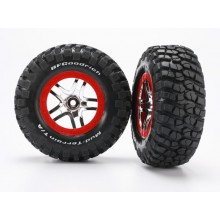 Tire & Wheel assembly, Rear, Mnted, Red Beadlock, Slash