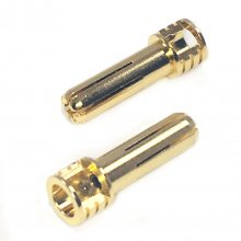 5mm Pure Copper Gold Plated Bullet Connectors, Male (2pcs)